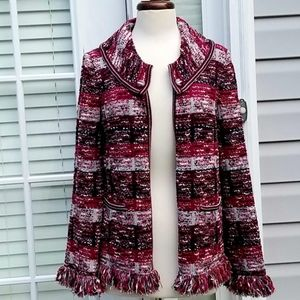 St. John Wool Blend Knit Sweater Open Cardigan S